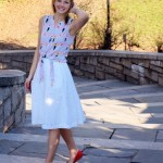 White eyelet skirt and tie-front top!