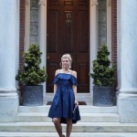 Navy Ruffled Off-The-Shoulder Dress