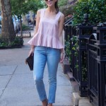 Blush pink and boyfriend jeans